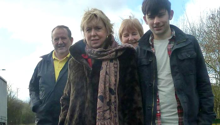 Cllr Martin Hewings, Lorely Burt MP, Cllr Glenis Slater, Lib Dem Campaigner for Elmdon Jonny Wharrad at Damson Parkway