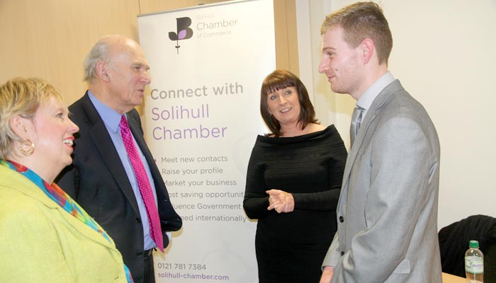 Vince Cable and Lorely Burt at Solihull College