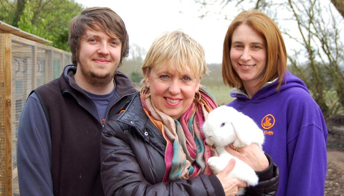 Adam Bailey, Chloe Hennegan & Tinker at Fat Fluffs Rabbit Rescue