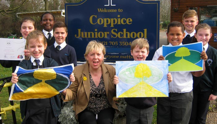 Coppice Junior School pupils with Lorely Burt MP