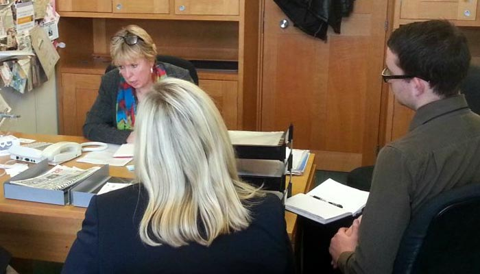 Photograph showing Lorely Burt MP and CQC officials during the telephone meeting with Sarah Jane Downing