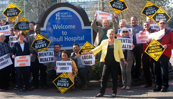 Photograph of Lorely Burt celebrating the campaign victory with Lib Dem campaigners