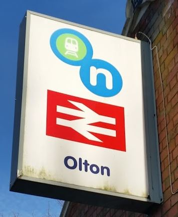 Olton station sign in Olton, Solihull