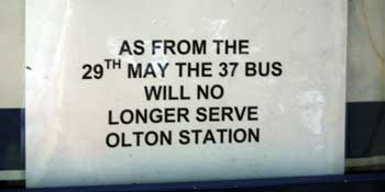 The original sign at Olton Station about the changes to the 37 bus