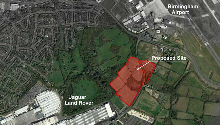 The location of the proposed JLR development