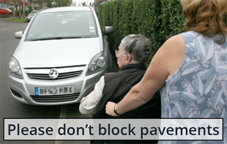Please don't block pavements