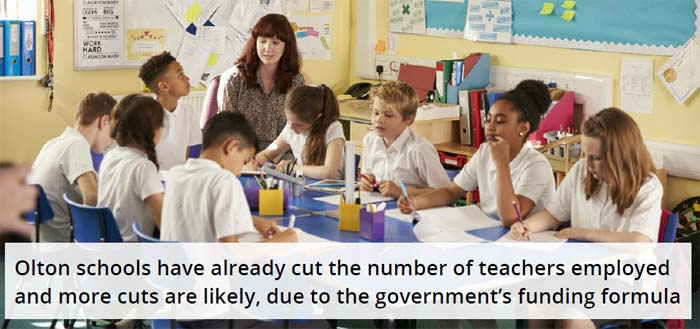 Olton schools have already cut the number of teachers employed and m ore cuts are likely, due to the government's funding formula