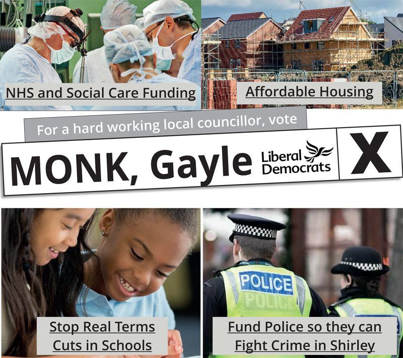 Vote for Gayle Monk in Shirley East Local Election