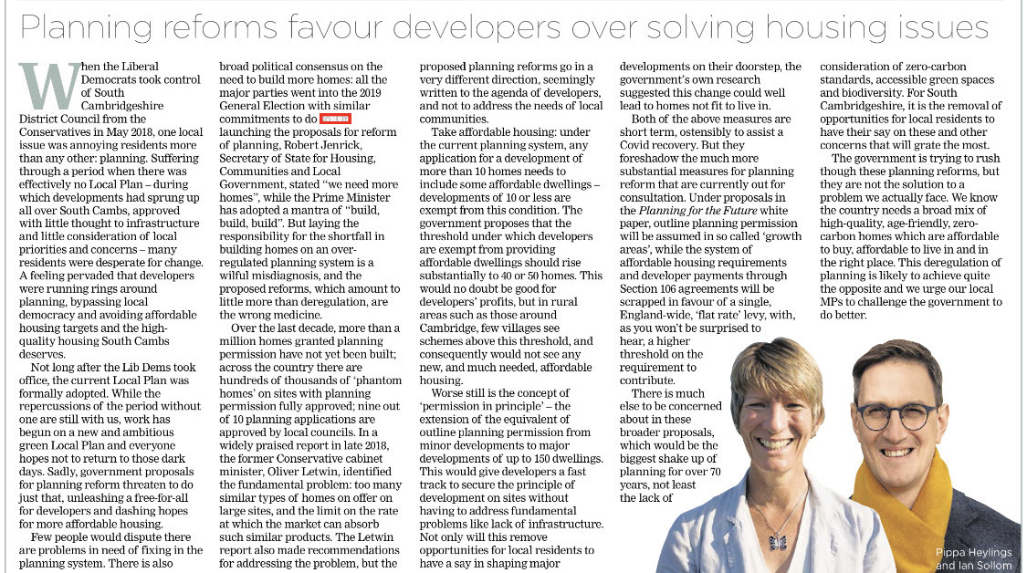 Planning reforms favour developers over solving housing issues - Ian Sollom and Pippa Heylings