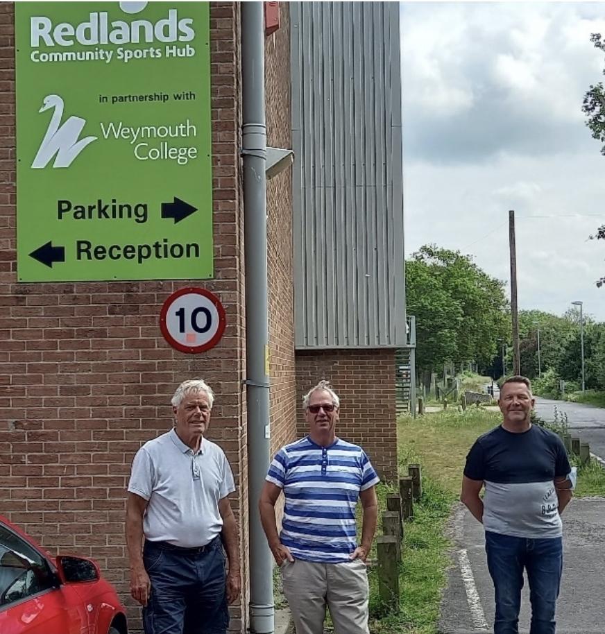 Councillor Legg, Councillor Northam &. Councillor Gray outside Redlands Community Sports Hub