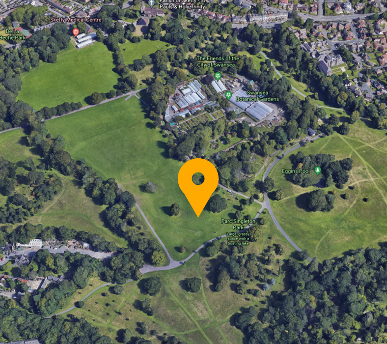 Image of picnic spot located west of the botanical gardens in Singleton Park