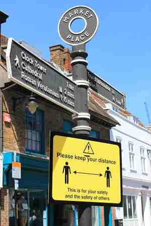 Market Place social distancing sign