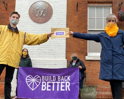 Build Back Better delivers letter to Daisy Cooper