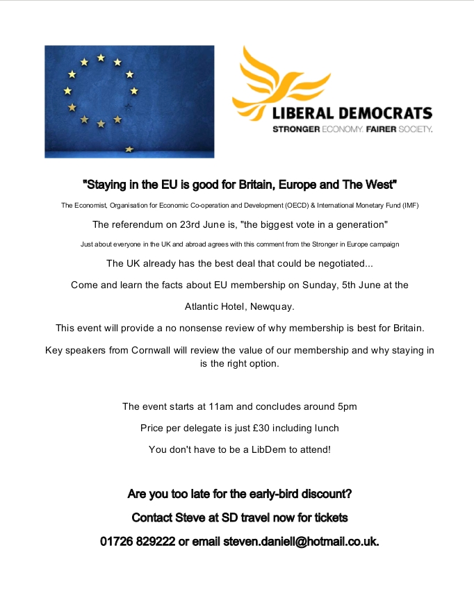 St Austell and Newquay Liberal Democrats to host EU Event