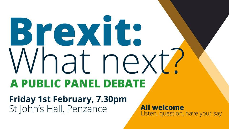 Brexit: What next?  A public panel debate  with guest speaker Julie Girling, MEP (Independent)  and Andrew George, former local MP (Liberal Democrat)  chaired by Mike Sagar-Fenton (local writer and political columnist)