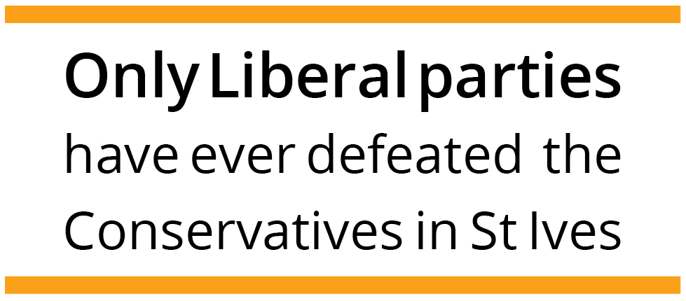 Only Liberal parties have ever defeated the Conservatives in St Ives constituency