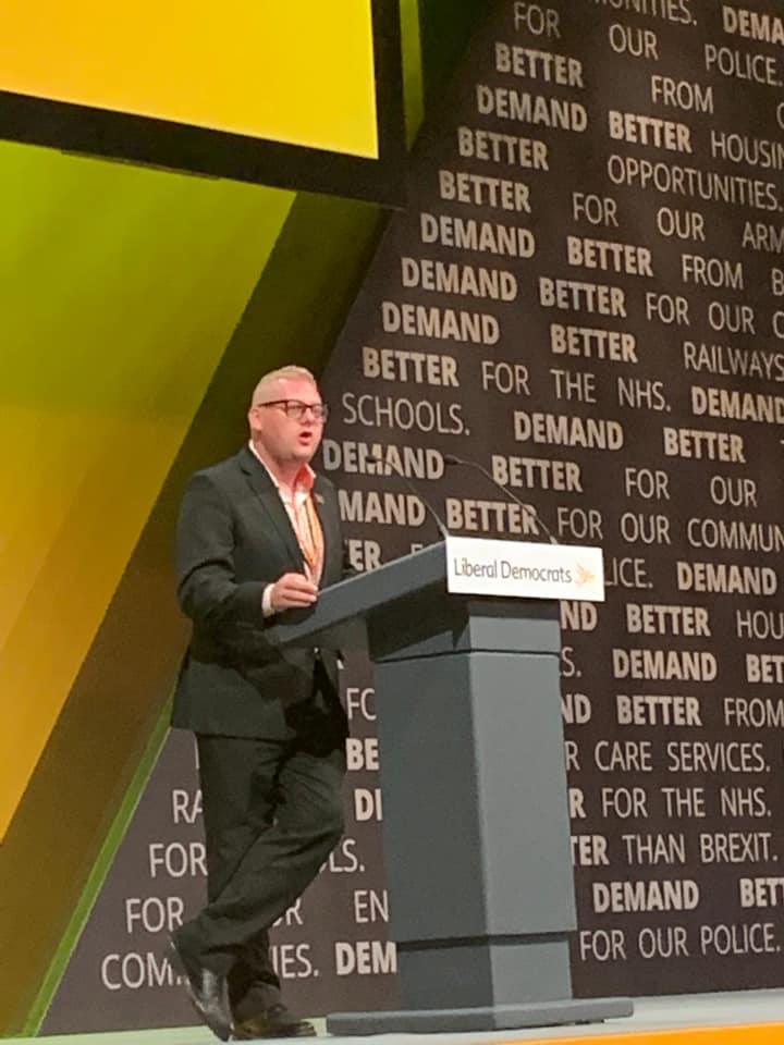 Ben J Martin speaking at Lib Dem Conference