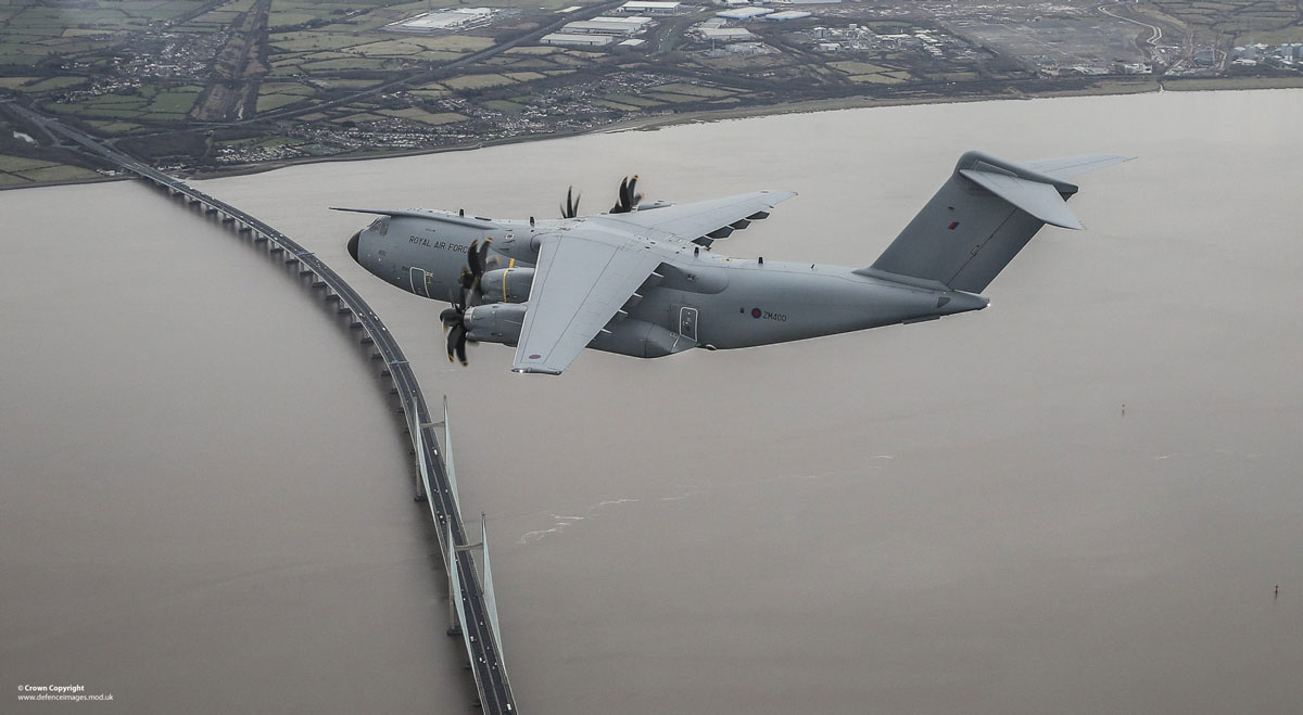 Airbus A400m over Bristol channel