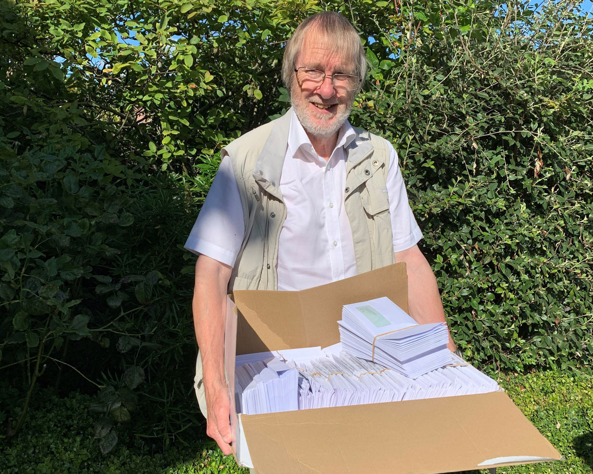 Cllr Mike Drew with Covid-19 Surveys