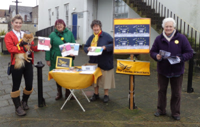 Liberal Democrats IN Together street stall in Thonrbury High Street