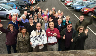 Steve Webb celebrates with local Focus Team members after the successful announcement of a cinema for Yate, following a ten year campaign