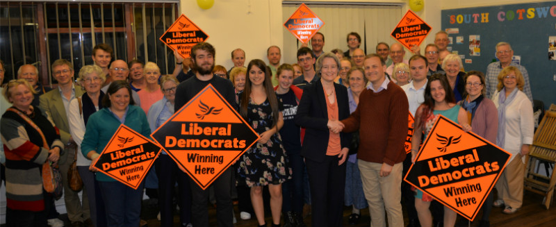 Claire Young is congratulated by former MP Steve Webb on her selection as Liberal Democrat Parliamentary candidate for Thornbury and Yate