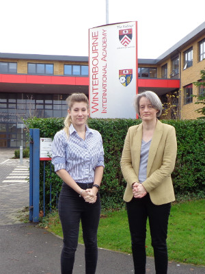 Eva Lily Fielding and Claire Young outside Winterbourne Internation Academy