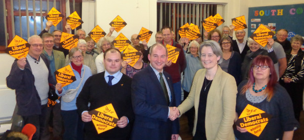 Claire Young congratulates Stephen Williams on his selection as Liberal Democrat Candidate for West of England Metro Mayor