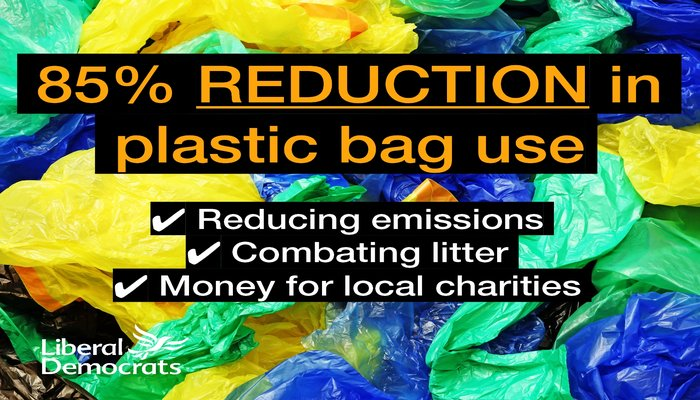 Huge Drop in Single-Use Plastic Bag Usage a Lib Dem Success