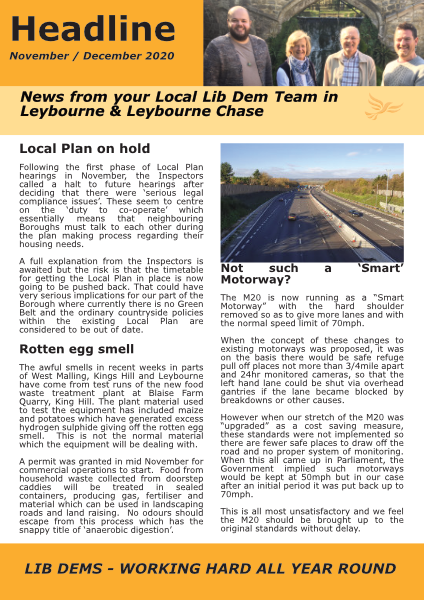 Leybourne and Leybourne Chase Headline Nov/Dec 2020
