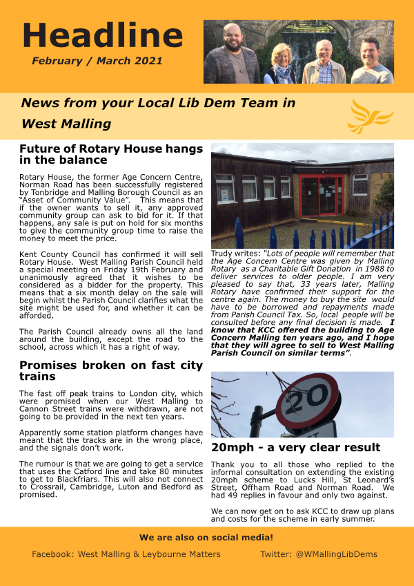 West Malling Headline Feb/Mar 2021