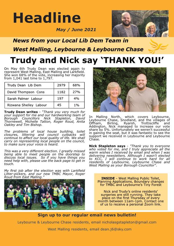 West Malling and Leybourne Headline - May/June 2021