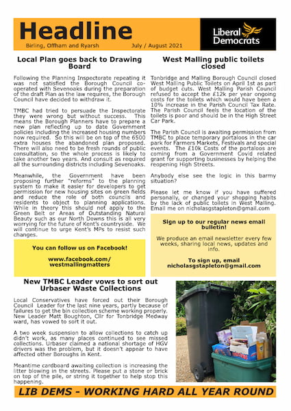 News from Nick Stapleton and your local Lib Dem Team in Birling, Offham and Ryarsh