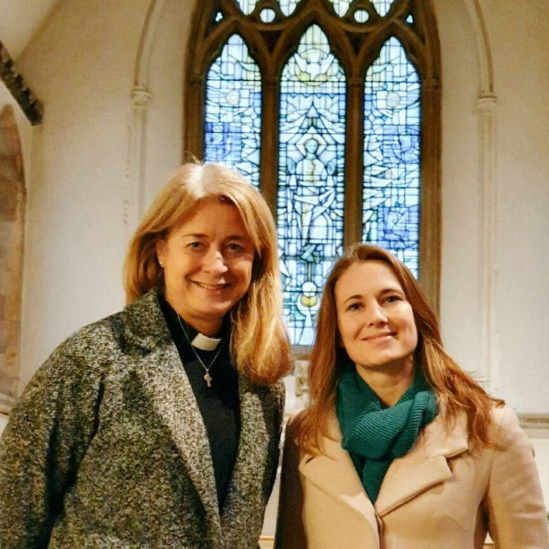 Helen Thomas and Anna Norman-Walker at St. Leonards Church