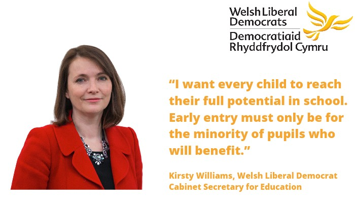 Kirsty Williams announces measures to prevent pupils being entered too early for exams