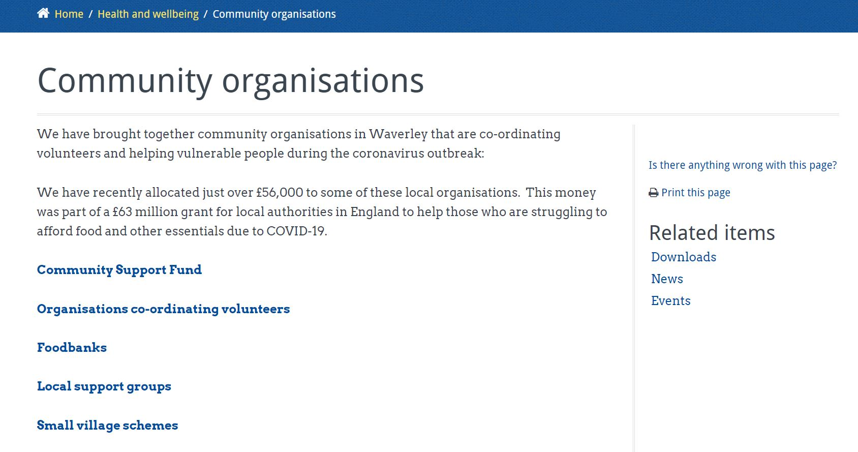 Community Organisations