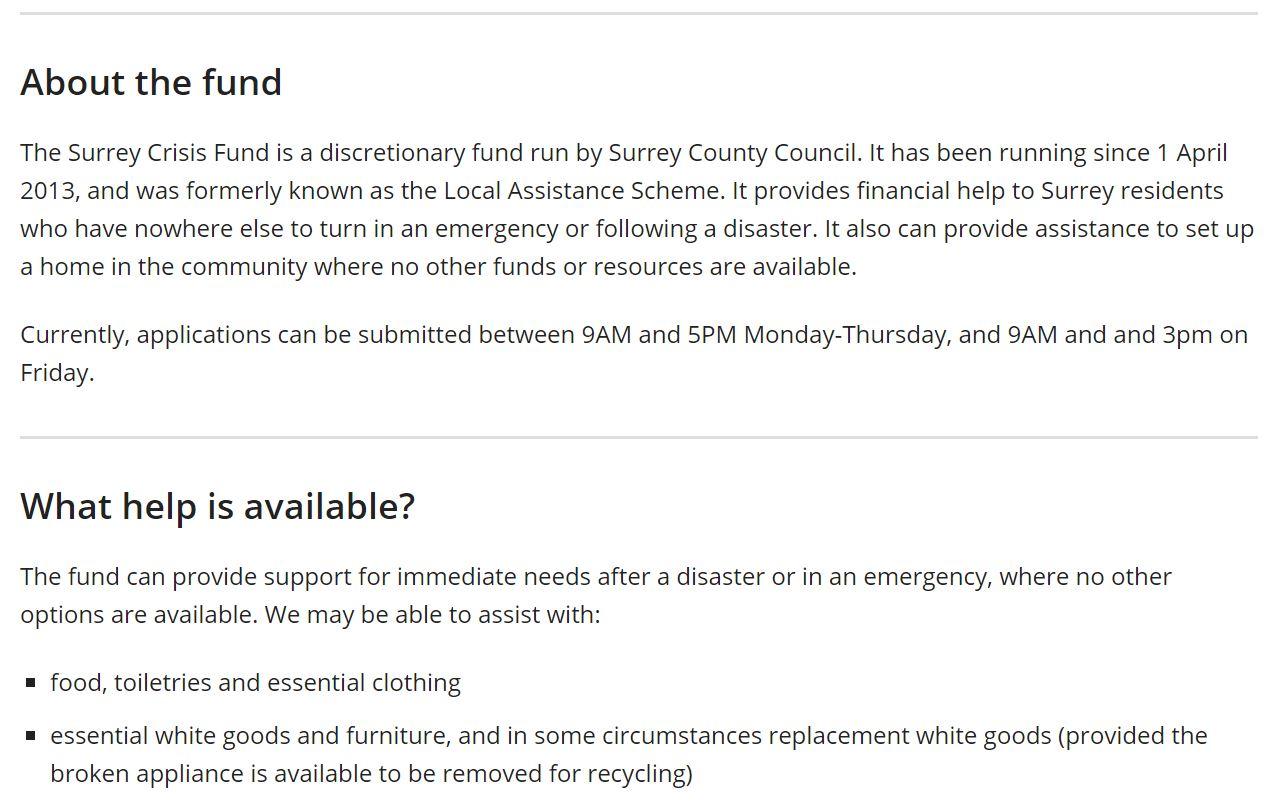 Surrey Crisis Fund