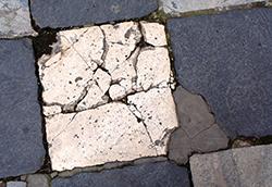 Broken paving