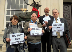 Gritting Petition pictured left to right Cllr Kareen Hastrick; Cllr Stephen Giles-Medhurst; Cllr Tim Williams; Cllr Robin Parker