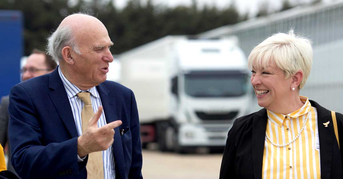 Barbara Gibson, Lib Dem MEP Candidate for the East of England, with Vince Cable