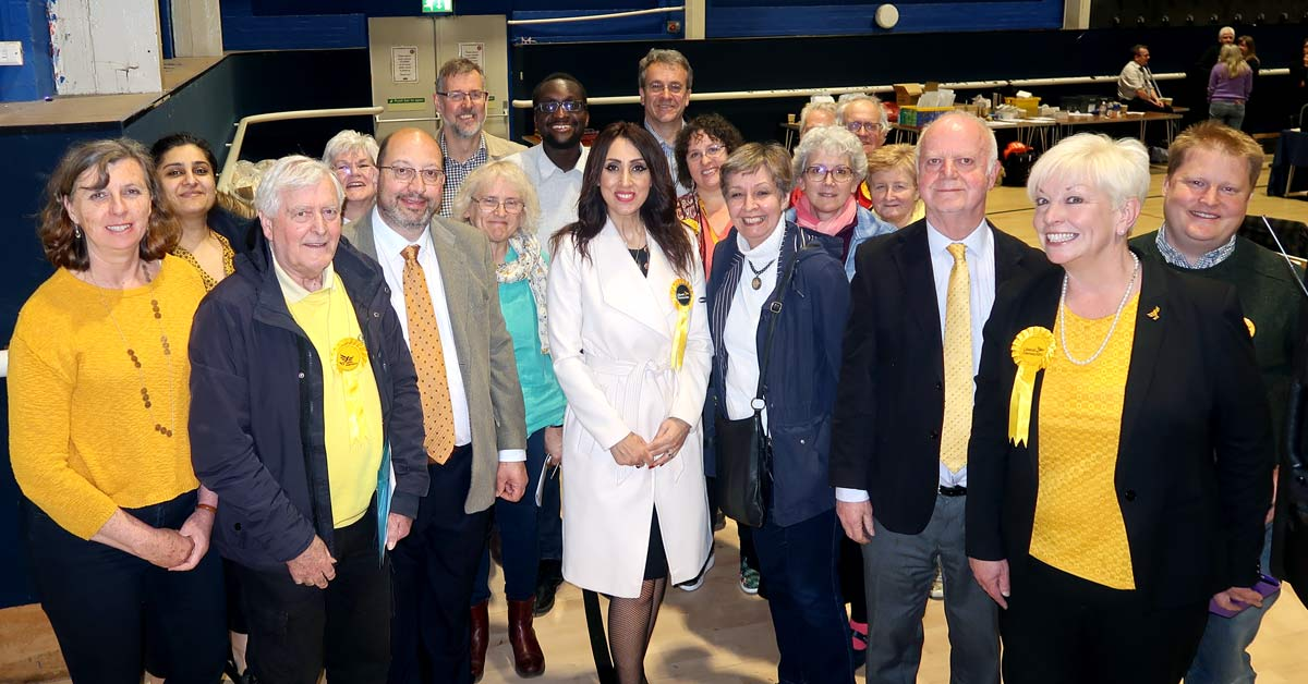A tired but jubliant Lib Dem team at the Welwyn Hatfield local election count in May 2019