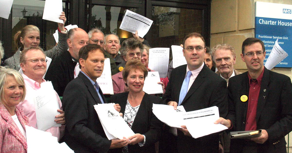 "Grant Shapps, Mike Hobday, Nigel Quinton and other campaigners delivering the cross-party ""Save QE2"" petition to the PCT"