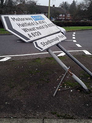Bent sign on Stanborough Road