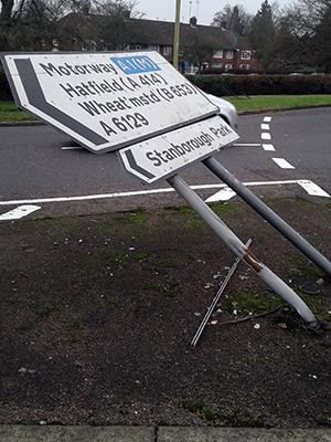 Bent sign on Stanborough Road