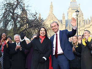 A Triumphant Sarah Olney (Richmond Park) with Tim Farron outside the Palace of Westminster 05/12/2016
