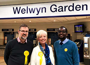 Nigel Quinton, Barbara Gibson and Anthony Dennis at Welwyn Garden City Station