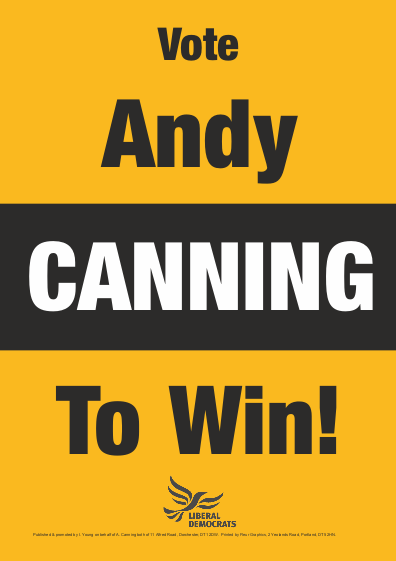 Vote Andy Canning To Win (Poster)
