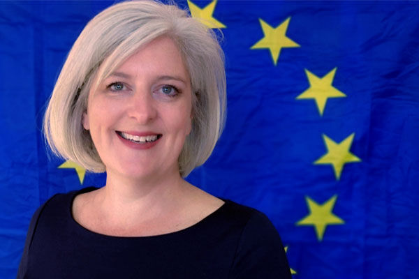 Caroline Voaden with EU Flag