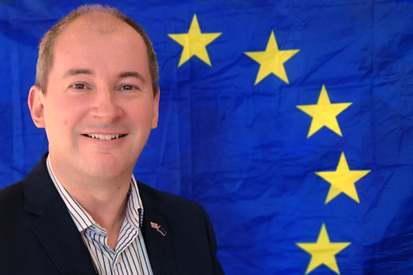 Stephen Williams with EU Flag