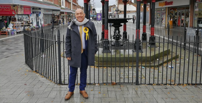 Photo of LibDem candidite in centre of West Bromwich